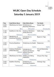 Open Day programme Jan 2019